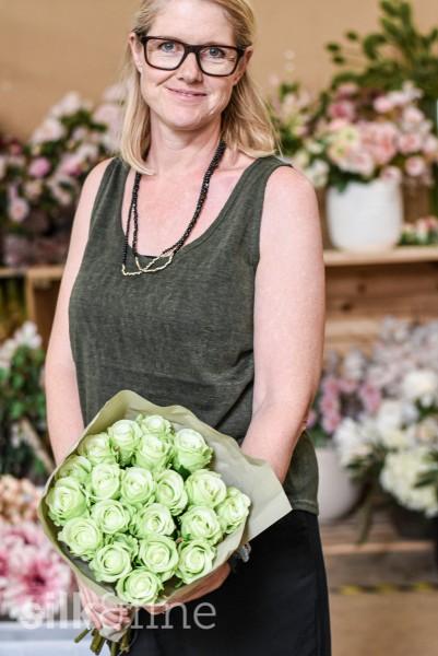 Rosenstrauss aus Seide, grün| Silk&Fine