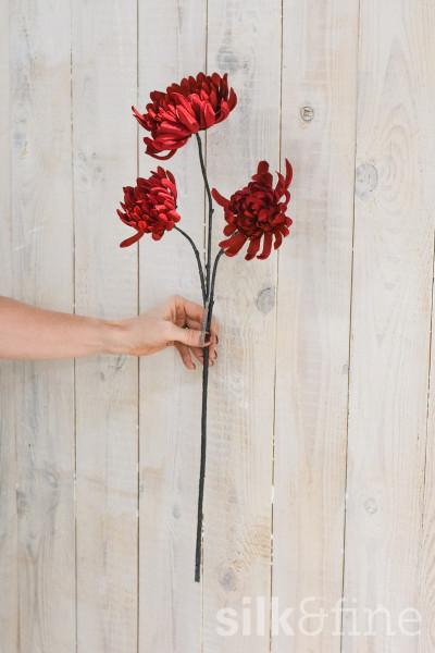 Kunstblume | Chrysantheme rot verzweigt | L: 68cm