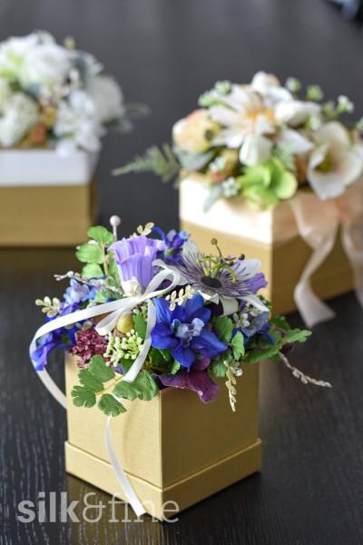 Blumenbox mit Passiflora, blau   Silk&Fine