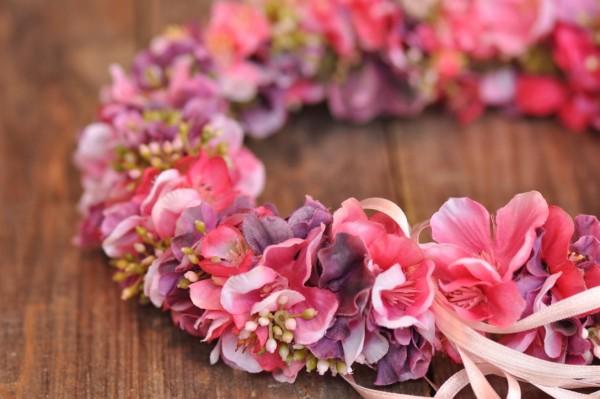 Silk&Fine Blumenkranz   rosa, pink, lila