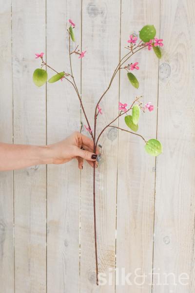 Kunstzweig | Lunaria mit rosa Blüten | L: 57cm