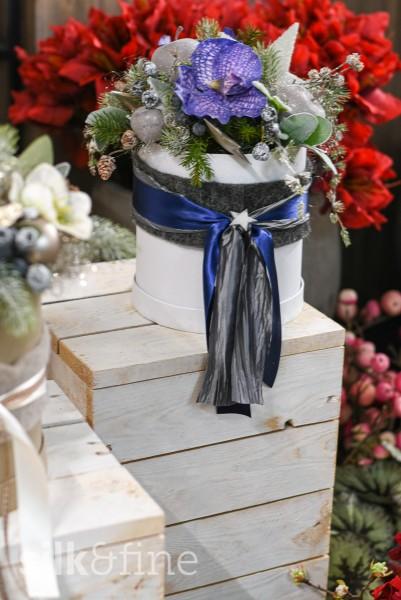 Blumenbox Advent, blau | Silk&Fine